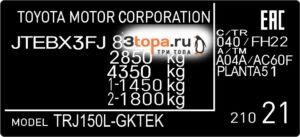Наклейка VIN Toyota